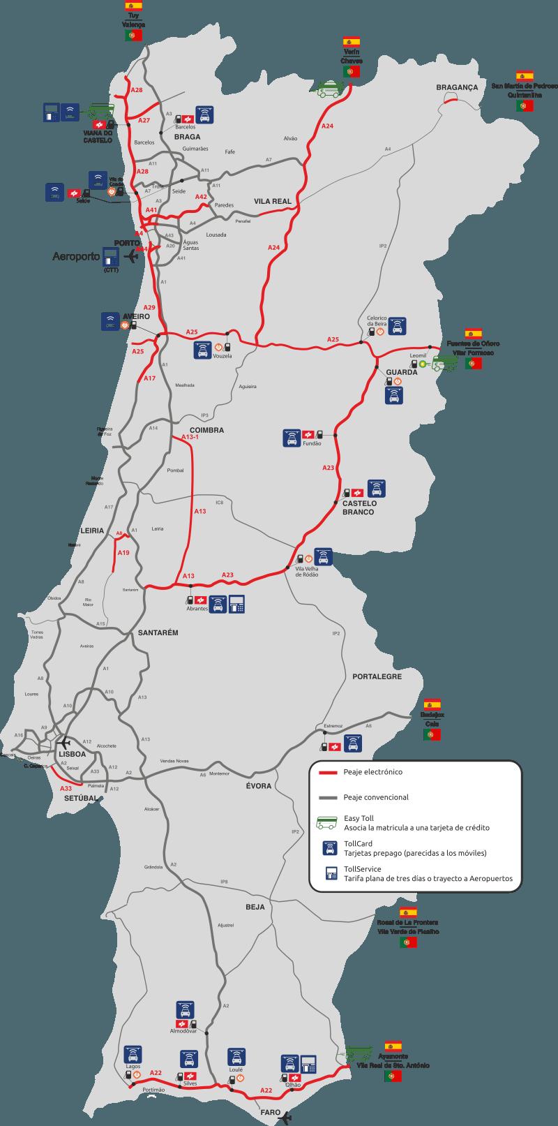 Mapa de peajes en Portugal
