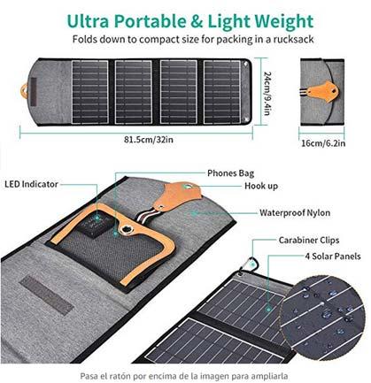 Características cargador solar