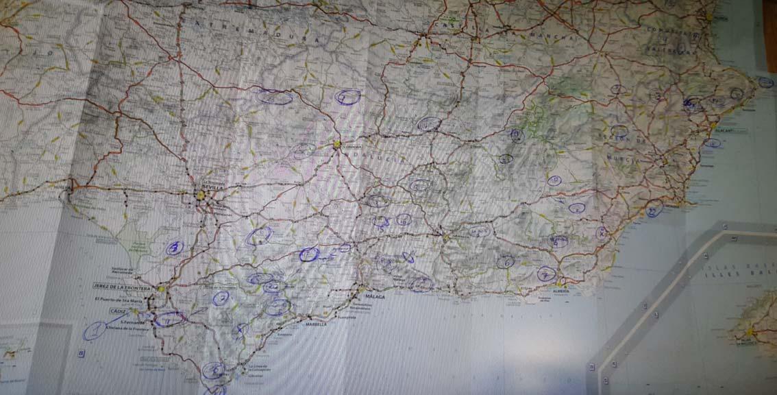 Mapa recorrido Coast2Coast marcado a mano